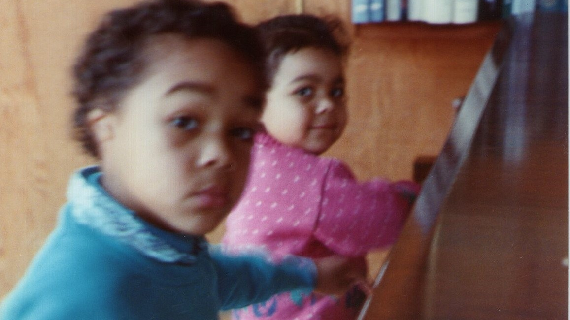Me with my little sister, my first student :-)